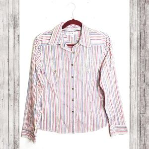 Tommy Hilfiger Rainbow Striped Button Down Blouse